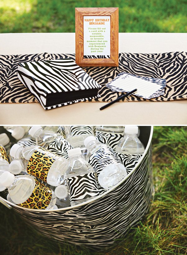 Animal print backyard safari first birthday hostess for Animal print decoration party
