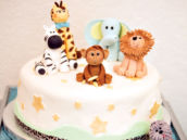 baby animals cake for a baby shower