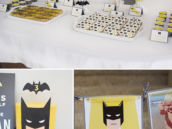 batman birthday party dessert table and cake