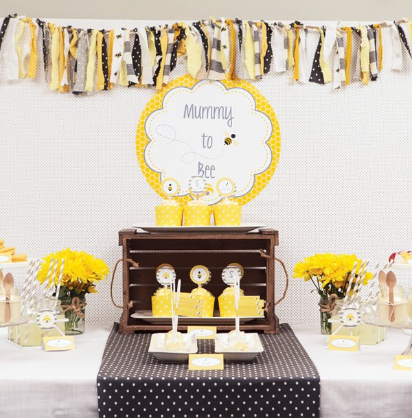 mummy to bee themed spring baby shower ideas