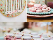 birdcage wall decor, macarons, and M&M jars