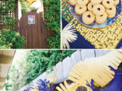 blue and gold gender neutral baby shower party decor and food
