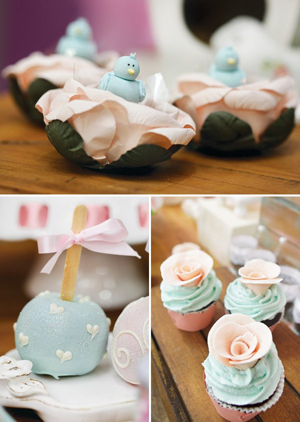 pastel cupcakes, caramel apples and blue bird topped desserts