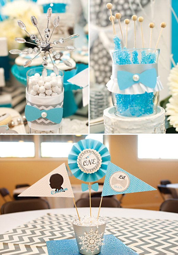 blue chevron party decor and candy dishes