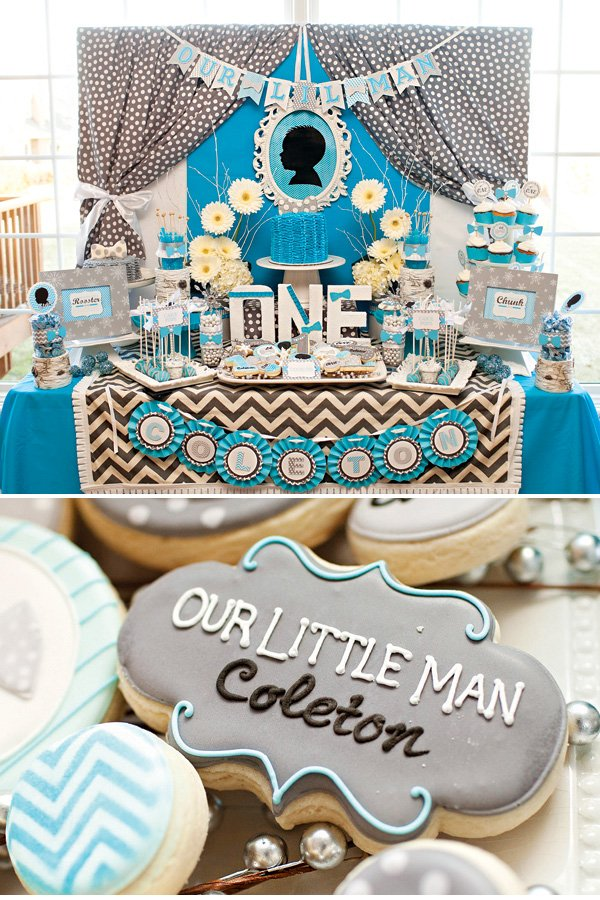 blue and gray first birthday dessert table