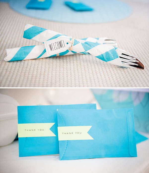 blue boy's baby shower decor