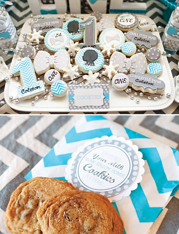 chocolate chip cookie party favors and bow tie cookies