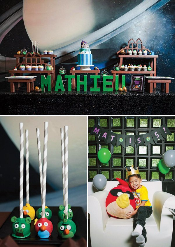 boy's angry birds themed 5th birthday party
