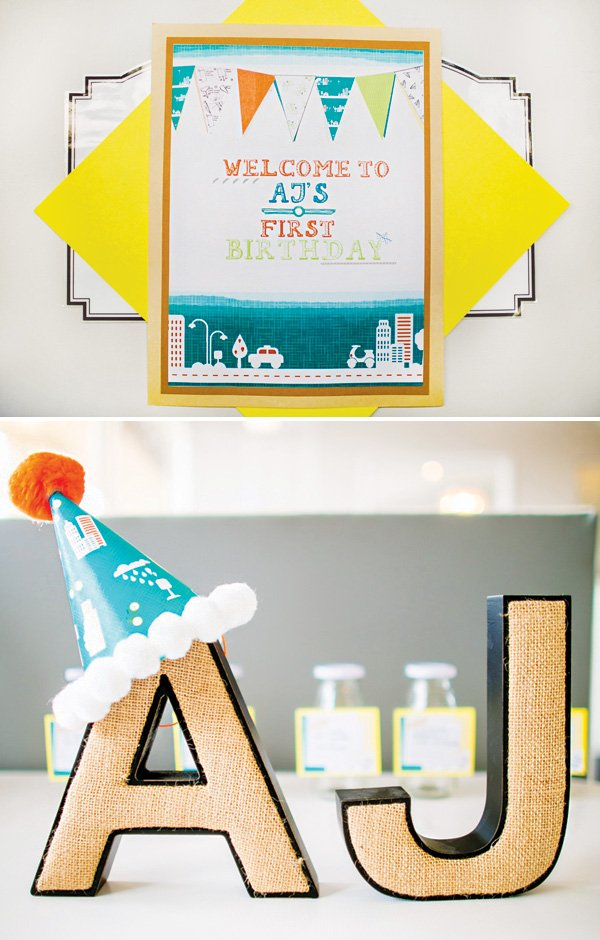 boys birthday party welcome sign and name letters