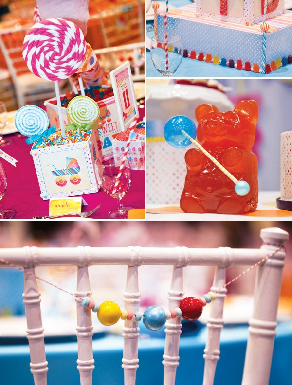 Candy Themed Decorations and Gum Ball Chair Backs