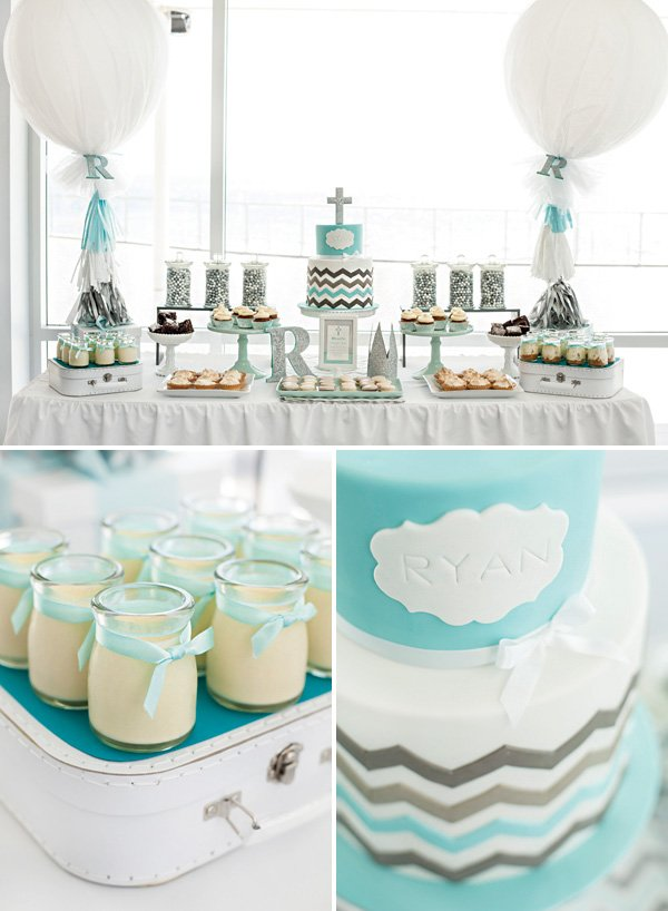 teal and silver chevron striped christening desserts table