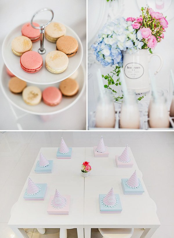 chevron party hats at a simple kid's tablescape and macarons