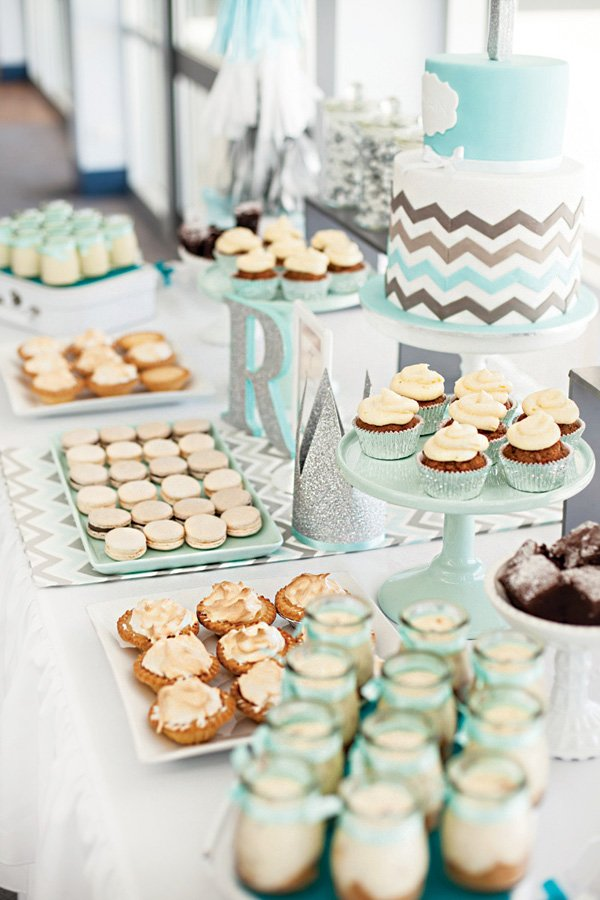 teal chevron striped dessert table
