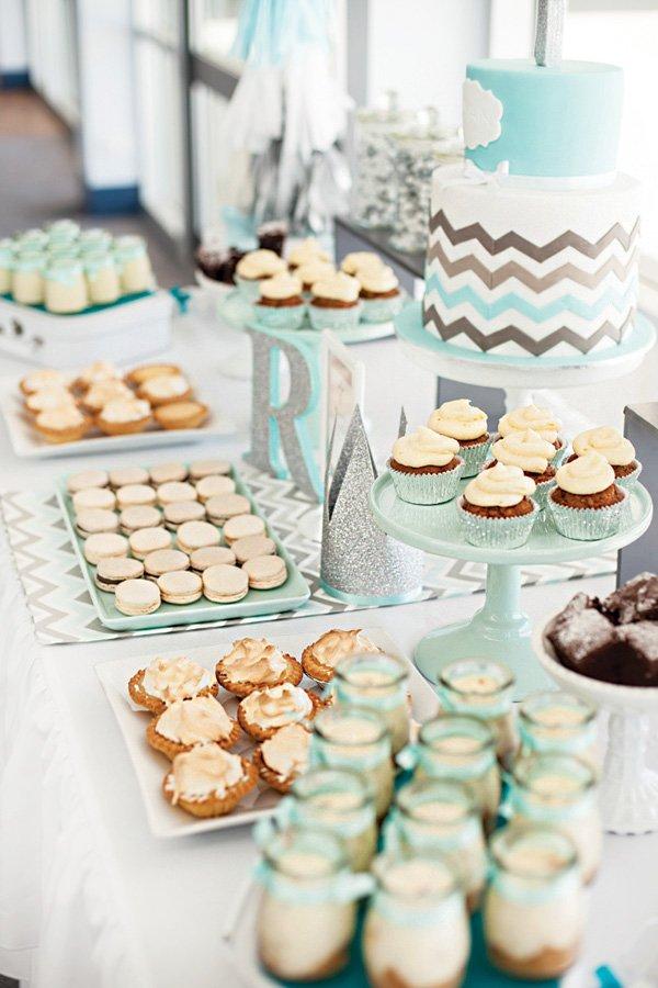 teal chevron striped dessert table
