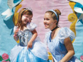 cinderella party character and princess photo booth backdrop