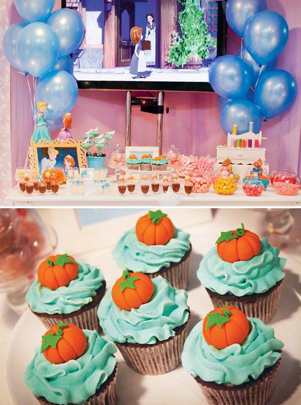 cinderella magic pumpkin topped cupcakes