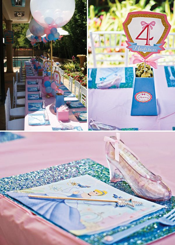 cinderella slipper party decor and tablescape