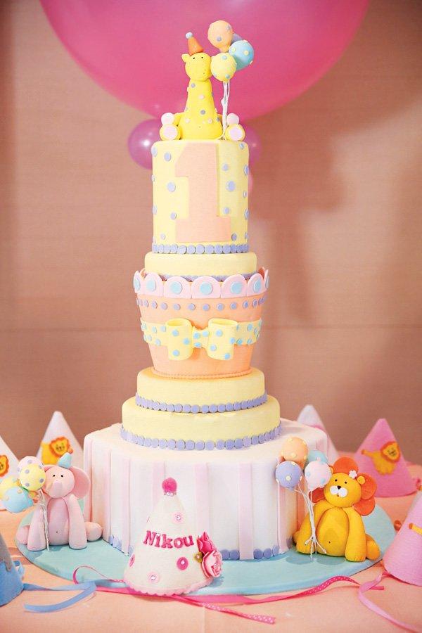 circus animal multi-level birthday cake