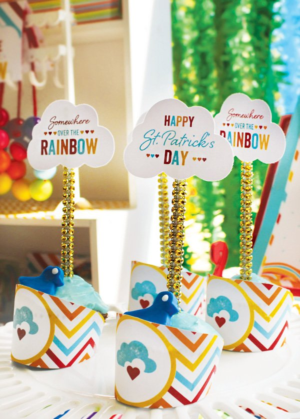 cloud topped cupcakes for a rainbow party and other dessert ideas
