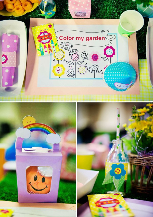 colorful garden party kids table and activities