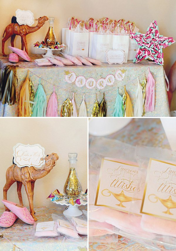 desert camel, cotton candy and wish party favors