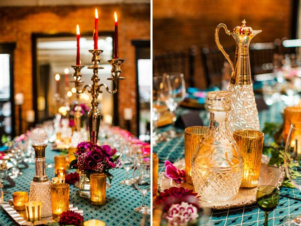 dinner party centerpiece ideas with crustal and candelabras