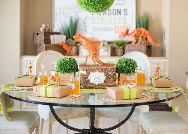 dinosaur table setting