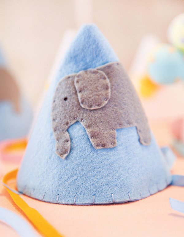 hand stitched elephant party hat