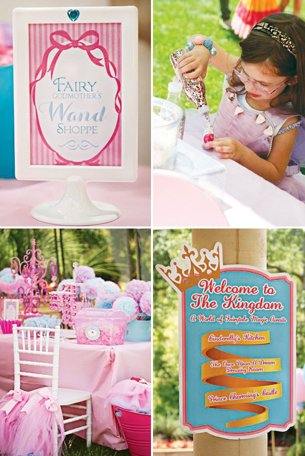 fairy wand making activity and princess birthday party signs