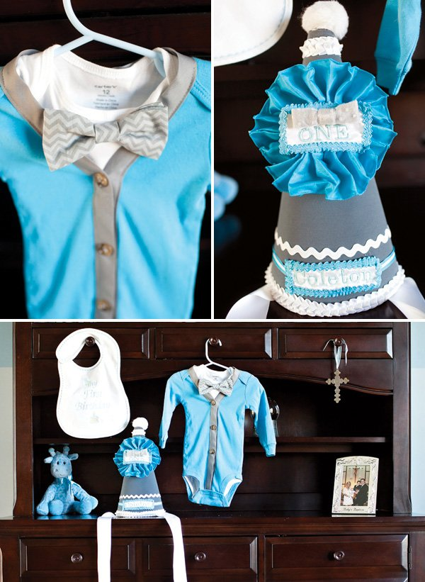 first birthday bow tie onesie and party hat