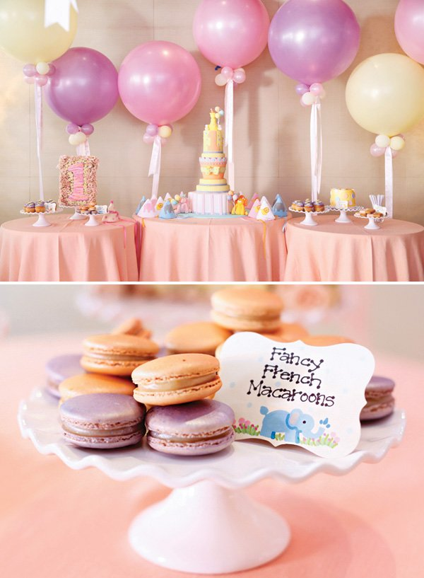 first birthday dessert table and macarons