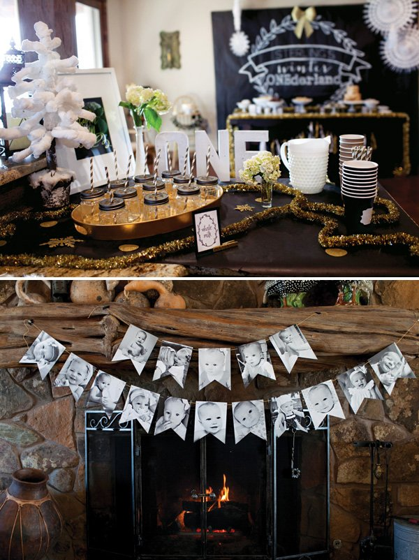 first birthday black and white photo garland