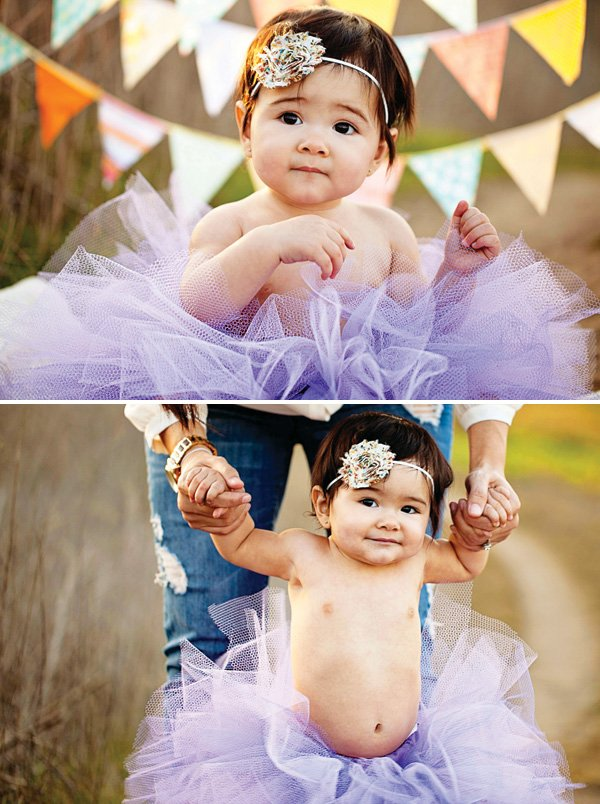 first birthday photo ideas - bunting and tutu