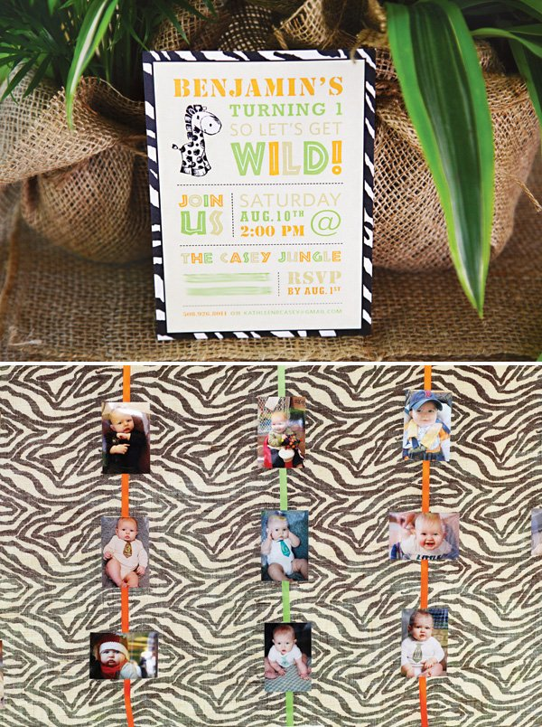 first birthday safari invitation and photo board