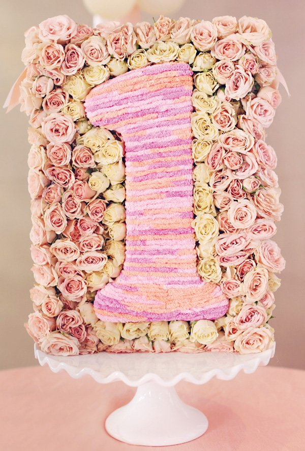 floral '1' first birthday sign