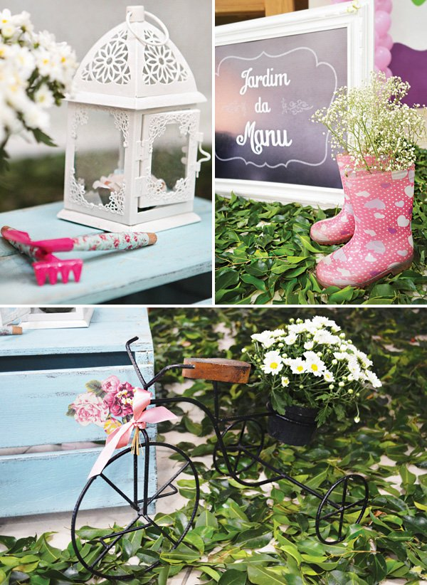 garden party decor with leaves, rain boots and mini bikes