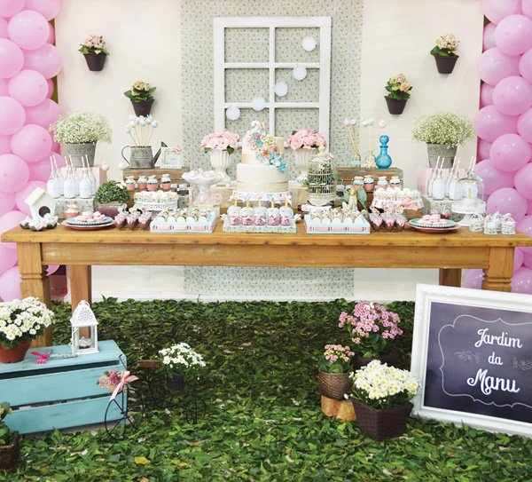 garden party dessert table