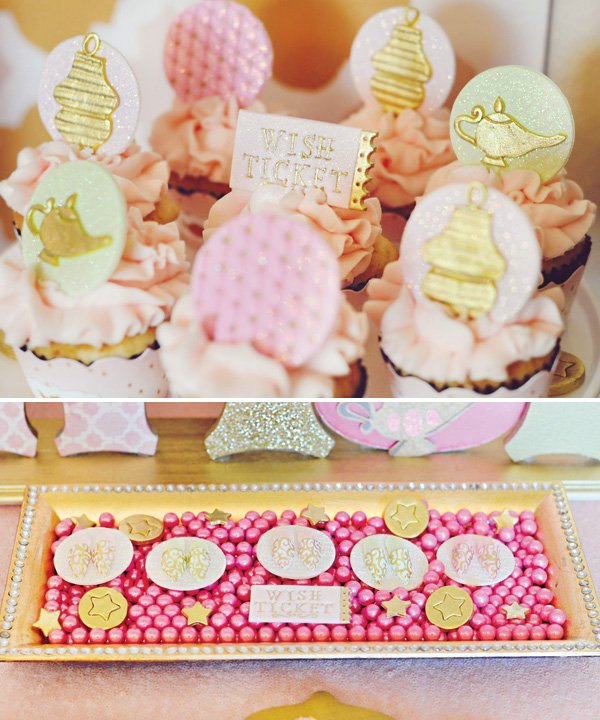genie lamp topped cupcakes