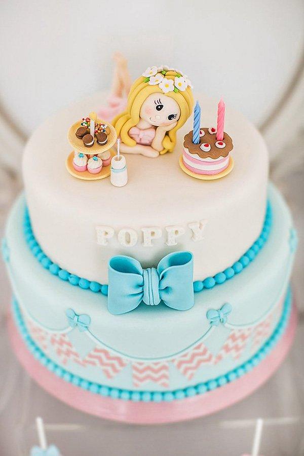 girly milk and cookies birthday cake