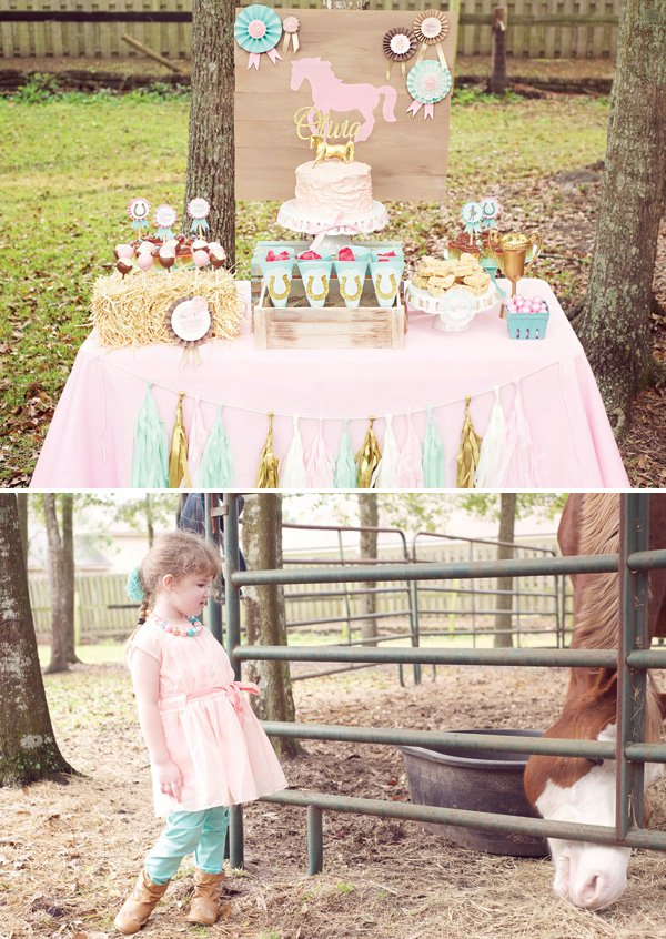 girly pink and gold horse themed dessert table