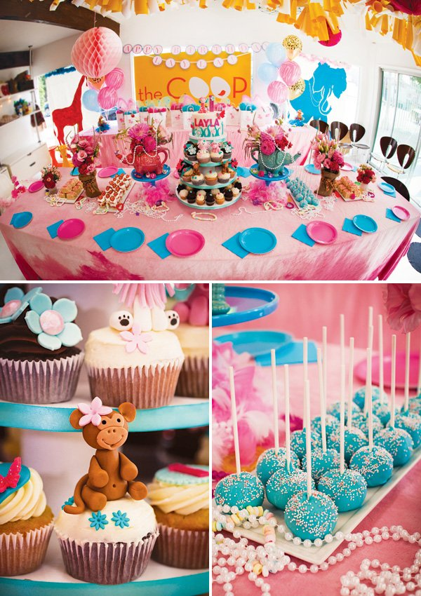 girly jungle animal themed desserts table