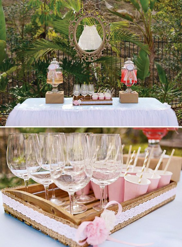 girly baby shower drinks table