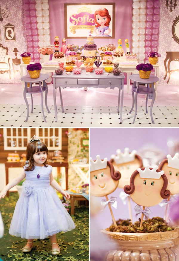 girly purple princess sofia the first birthday party ideas
