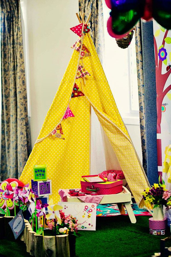 girly yellow tee pee