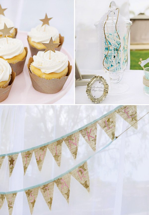 gold star party decor and desserts