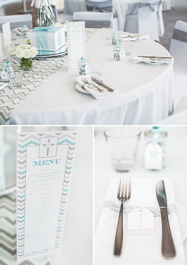 grey and blue formal table