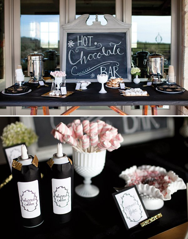 winter first birthday party hot chocolate bar