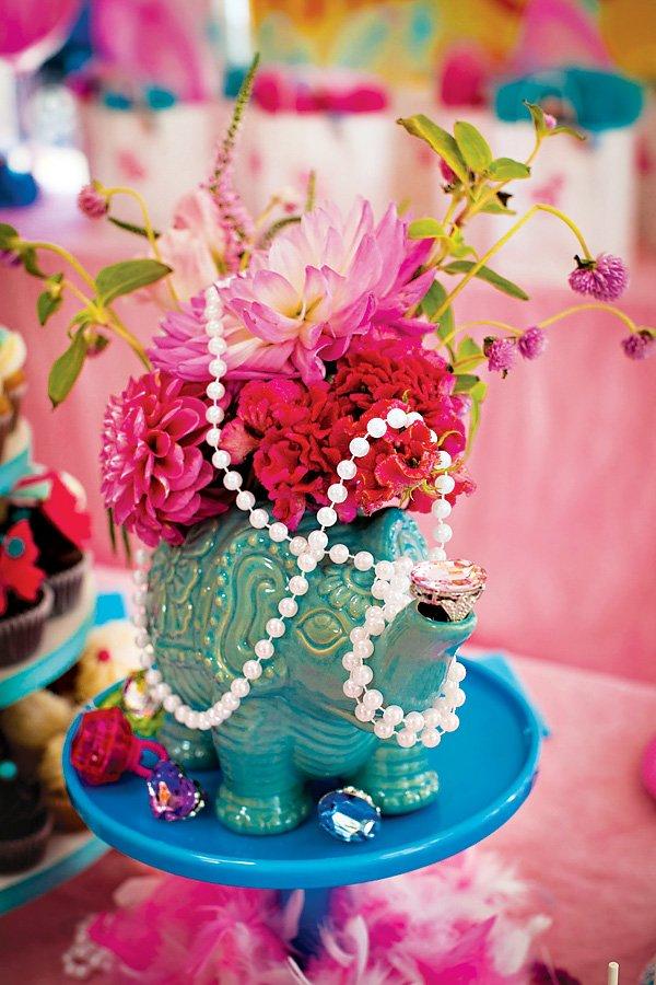 jewelry jungle elephant teapot floral centerpieces