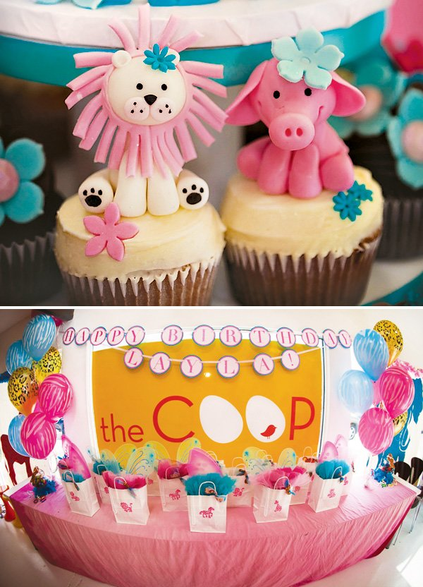 jungle animal cupcakes and party favors