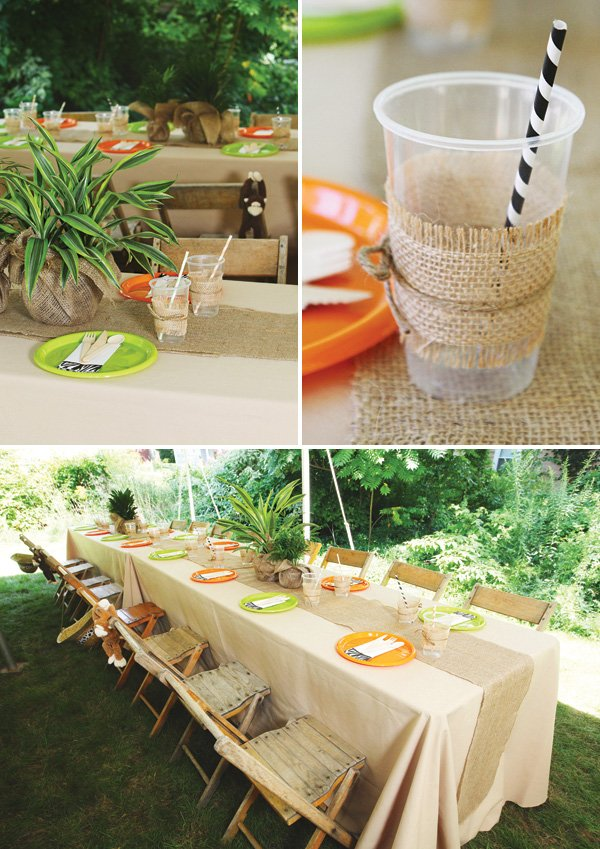 Animal print backyard safari first birthday hostess for Table design jungle